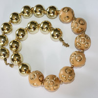Vintage Necklace Chunky Gold Cream Ball Link 1970s Jewelry
