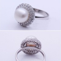 Rhodium Plated Fresh Water Pearl Ring - Forever