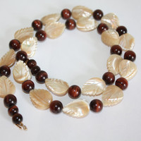 Vintage Necklace Carved MOP Leaf Tiger Eye 1950s Jewelry
