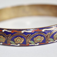 Vintage Bangle Bracelet Guilloche Russian Enamel 1950s Jewelry