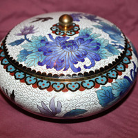 Vintage Trinket Jar Jewelry Box Cloisonne Enamel Large 1940s  Jewelry