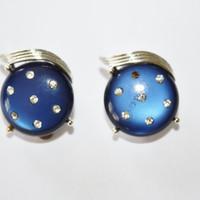 Vintage Earrings Blue Thermoset Rhinestone 1950s Jewelry