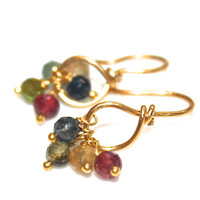 Rainbow Tourmaline Earrings Delicate Gold Earrings Minimalist Jewelry Gemstone FizzCandy