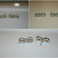 Infinity Stud Earrings - Available in both Silver and Aqua