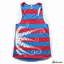 Womens OCTOPUS - Alternative Apparel Rugby stripe Racerback Tank Top S M L XL - Eco Royal