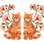 Cats couple animal art print &quot;Lacy Twins&quot; by OlaLiola, size 10x8 (No. 20)
