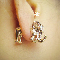 Happyshopping — Animal metallic solid elephants African elephant stud earrings