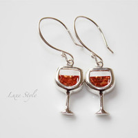 Cocktail Dangle Earrings Art deco ear rings White Wine Glass Sterling Silver Jewelry Contemporary Luxe Style
