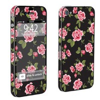 Apple iPhone 4 or 4s Full Body Decal Vinyl Skin - Black Rose Garden By SkinGuardz:Amazon:Cell Phones & Accessories