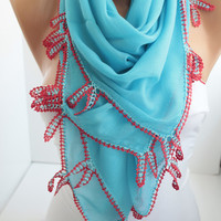 NEW- Blue Cotton Shawl Scarf  Oya Headband- Crochet edge scarf- cotton scarf- headband scarf Lace scarf