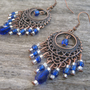 Cobalt Blue Antique Copper Chandelier Earrings, Faceted Briolette Teardrops