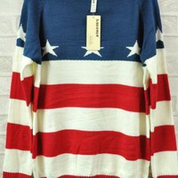 Retro Stripe Star Flag Loose Long Sleeve Sweater