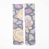 Mauve Floral Animal Sock
