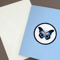 Blue Butterfly Birthday Card, Cross Stitch Card, Stitched  Greetings Card