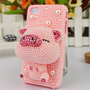lulula  lovely solid cartoon pig Rhinestone case for iphone 4/4s