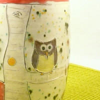 Owl Red Ceramic Tumbler / Teacup / Vase / Pencil Holder Desk Organizer Toothbrush holder T34 In Stock