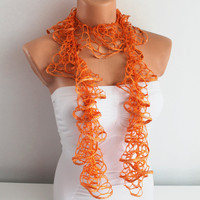ON SALE Orange Flamenko Shades Ruffle Scarf
