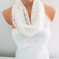 Infinity Scarf Loop Scarf Circle Scarf White Cotton Jersey Scarf Soft