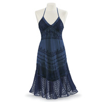 Blue Moon Embroidered Dress                        - New Age, Spiritual Gifts, Yoga, Wicca, Gothic, Reiki, Celtic, Crystal, Tarot at Pyramid Collection