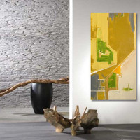 "Large Abstract Acrylic Painting Original Fine Art 48""x24"" by Linnea Heide - metallic gold - green - wheat - grey - white"