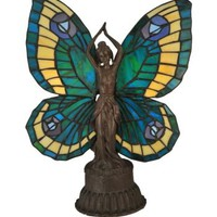 "17""H Novelty Butterfly Lady Stained Glass Accent Lamp - 48019m"