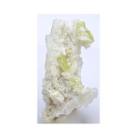 Rare Greenish Yellow Brazilianite Crystals on White Albite Mineral Specimen