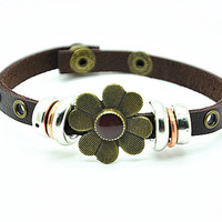 Women leather bracelet Copper Flower Brown Leather bracelet Charm Bracelet  RZ0244