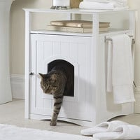 Washroom Cat House & Litter Box Cover in White