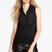 Elizabeth and James Studded Bib Silk Top | Nordstrom