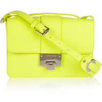 Jimmy Choo|Rebel neon textured-leather shoulder bag|NET-A-PORTER.COM
