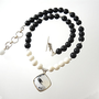 White Coral, Black Onyx Necklace w/  Dendritic Opalite Necklace and Sterling Silver Stardust Beads / Black And White