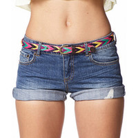 Distressed Denim Shorts w/ Woven Belt | FOREVER 21 - 2049159148