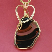 Montana Agate with 14k Gold Filled wire wrap - P97 | CarolynsJewelry - Jewelry on ArtFire