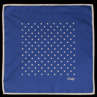 UNIONMADE - Drake's London - Classic Spot Silk Shoe String Handkerchief in Blue and Ecru