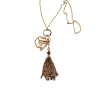 Vintage Tassel Floral Charm Necklace
