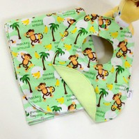 Monkey Around 2pc Receiving Blanket and Bib Set | NanaGCreations - Children's on ArtFire