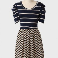 State Fair Colorblocked Striped Dress In Navy at ShopRuche.com