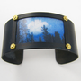 Picture Cuff Bracelet - Sky Landscape Blue White Brown Bold Statement Art Jewelry