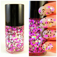 Flash Dance  Holographic Stars Pink and Black by beyondthenail