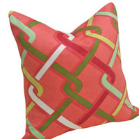 Trellis Decorative Pillows in Raspberry Coral by PillowThrowDecor