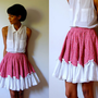Vtg Pink Floral Lace Bows Trimmed Square Dancing Skirt
