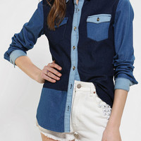 Glamorous Colorblock Chambray Button-Down Shirt