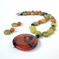 Burnt orange and light green necklace set - carnelian agate & jade necklace - chunky pendant necklace - boho earthy by Sparkle City Jewelry
