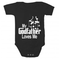 My Godfather Loves Me Baby Bodysuit by Sara Kety - 0-6 or 6-12 Months - Whimsical & Unique Gift Ideas for the Coolest Gift Givers