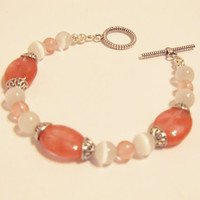 Pink & White Bracelet - Watermelon Tourmaline and White Cats Eye