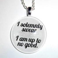 I Solemnly Swear Round Necklace by trophies on Etsy