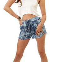 Loose Acid Wash Denim Shorts