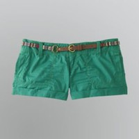Junior's Tribal Belted Shorts- Bongo-Clothing-Juniors-Shorts & Capris
