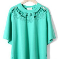 Cut Out Floral Embroidery Oversize T-shirt