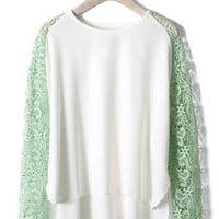 Mint Green Crochet Sleeves Chiffon Top